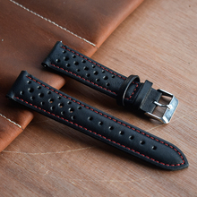 цена на Genuine Leather Strap For Watch Band Belts 18mm 20mm 22mm 24mm Handmade Hollow Watchband Black Red White Stitching Line KZH01