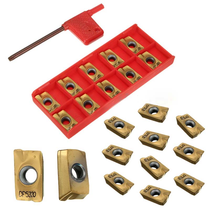 10pcs/set Carbide Indexable Insert APMT1604 DP5320 25R0.8 Gold Inserts For CNC Nc Turning Tool  цены