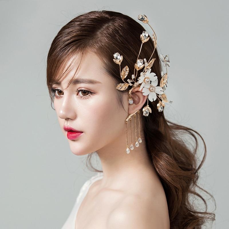 Rhinestone Simulated-pearl Earrings for Women Earring Jacket Jewelry White Yarn Flower Tassels Fashion Wedding Gifts 2018 New