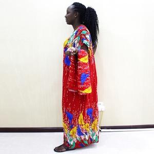 Image 4 - Moda Afrika Bayanlar Elbise Sarı Pamuk Baskı Rahat Afrika Dashiki Elbise