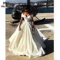 Vintage 2018 Ball Gown Wedding Dresses Robe de mariage V Neck Hard Satin Off Shoulder vestido de noiva Bridal Gowns