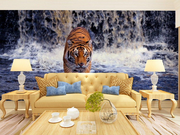Large Animal 3d Wall Mural with Waterfall Tiger Papel Mural Wallpaper for Living Room 3d Photo Murals Wall paper Wallcoverings