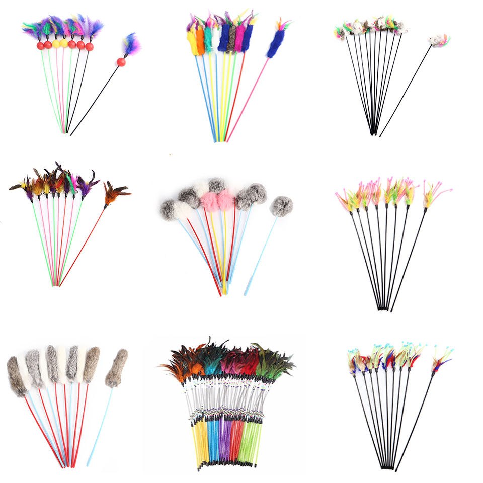 1PC Teaser Feather Toys Kitten Funny Colorful Rod Cat Wand Toys Plastic font b Pet b