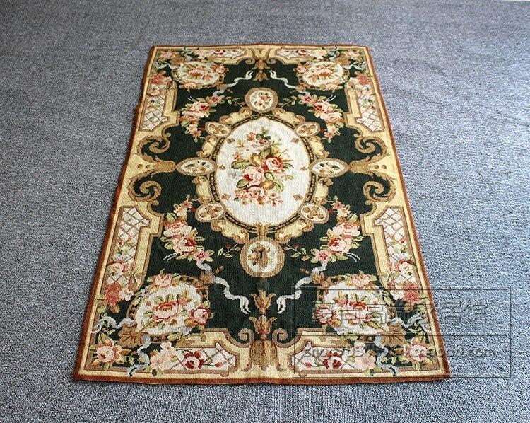 Broderie Court tapis de laine point tapis tapisserie fleurs et plantes tapis de campagne européenne tapis vert noirâtre