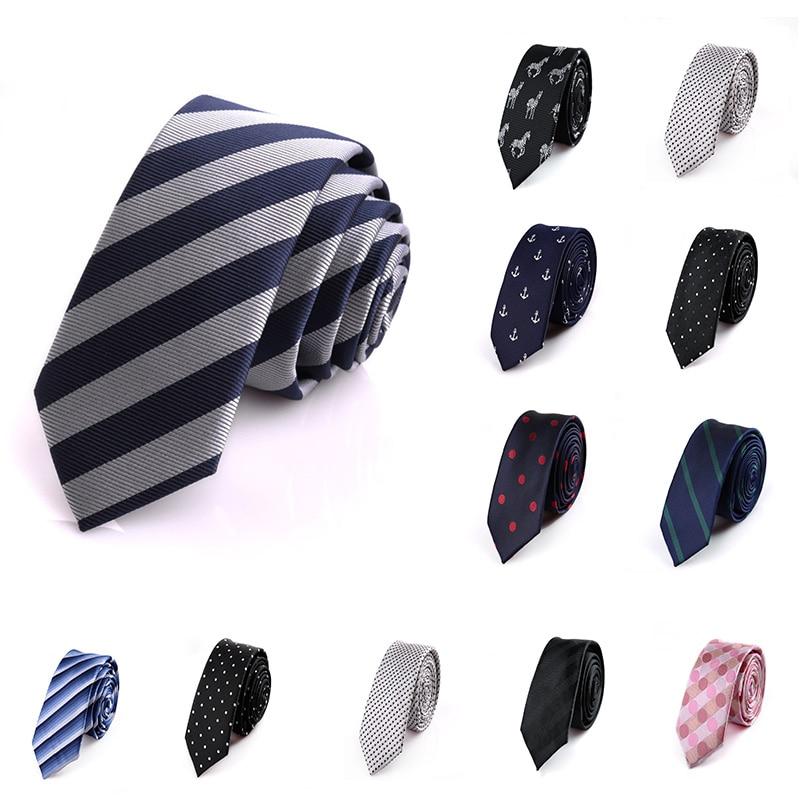 2019 Mans 5cm Tie Korean British Style Skinny Necktie Striped Plaid Wedding Dress Slim Tie Gravata Jacquard  Fashion Dot Flower
