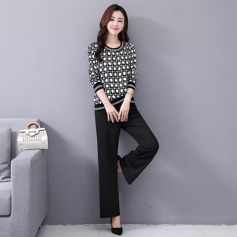 M-5x Autumn Black Printed Two Piece Sets Women Plus Size Long Sleeve Tops And Pants Suits Korean Elegant Office 2 Piece Sets 30