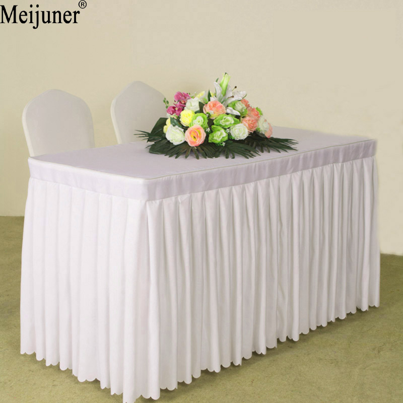 Meijuner 2017 Hot Hotel Conference Room Table Skirt Polyester Wedding Banquet Table Cover Home Table Cloth