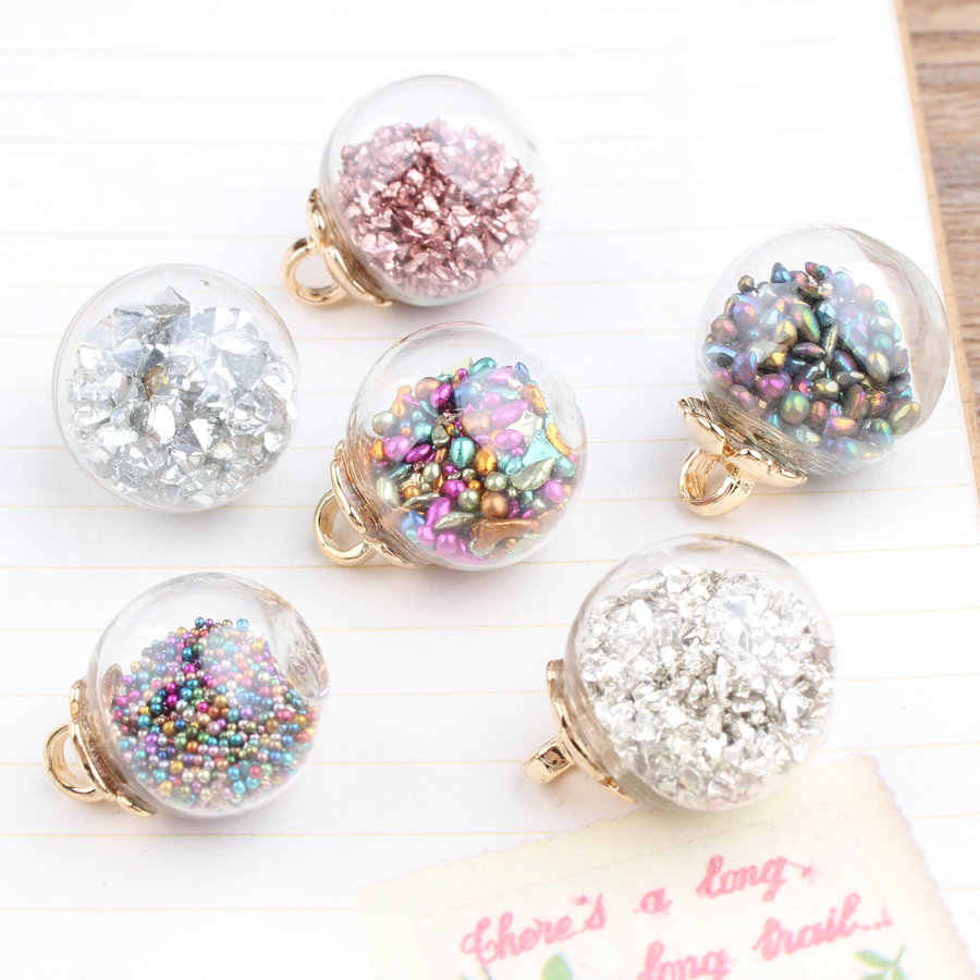 1pc 18mm Pink Silver Gold Rainbow Glitter Crystal Bead Round Glass Cabochon Ball Diy Handmade Pendant Necklace Earrings Charms