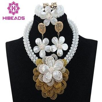 2016 Nigerian White Crystal Beads Jewelry Set Fashion Shell Flower White African Wedding Beads Jewelry Set Free Shipping ALJ902