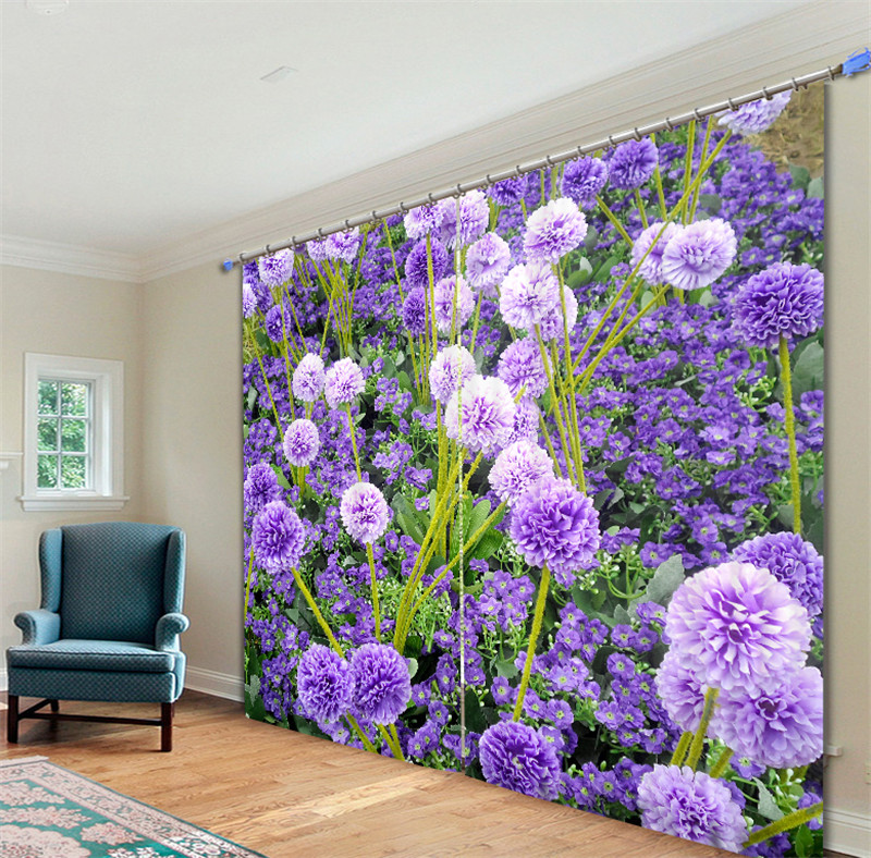 Purple Window Curtain Luxury Blackout 3D Curtains For Living Room Bedroom Drapes Cortinas Rideaux Customized Size Cushions Cover