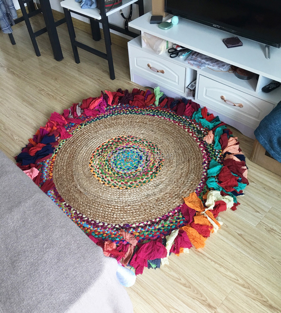 2019 New Southeast Asia Indian Style Round Carpet Natural Jute Carpet Diameter 120cm Rainbow Carpet  Hand-made Carpet Kids Room