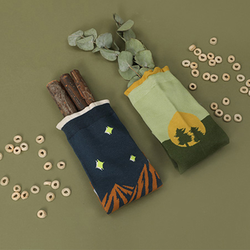 GO OUT AND HAVE FUN starry sky forest happy funny fashion women socks long crew young girls cute pop cotton colorful art socks