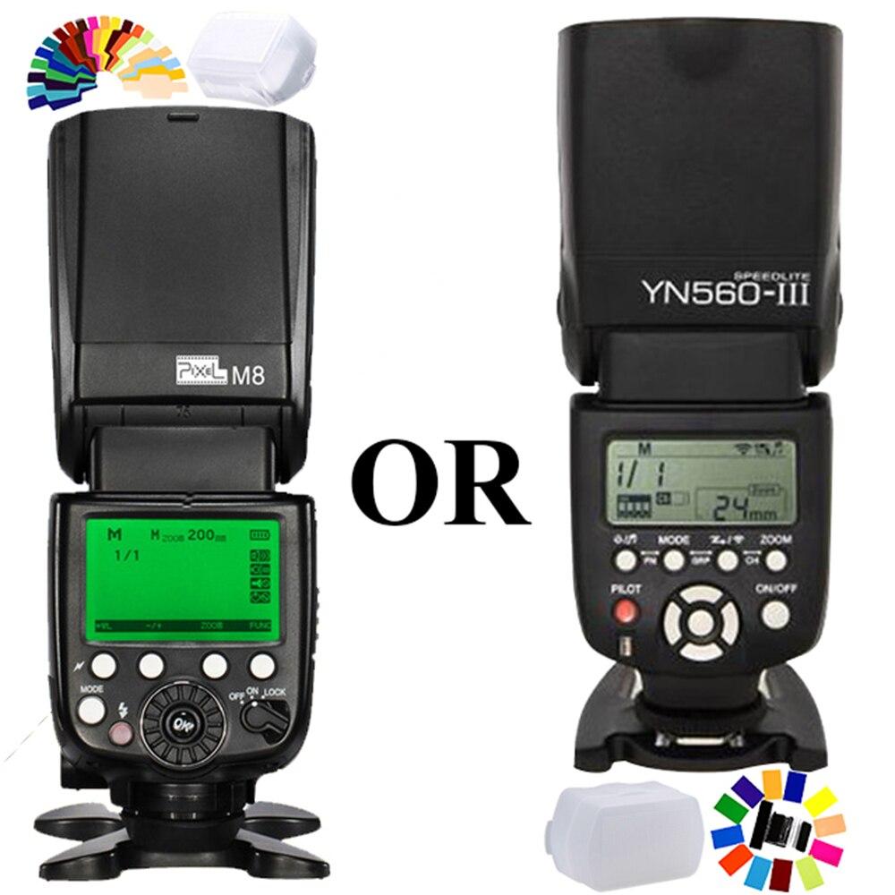 For Canon Nikon Pentax Panasonic Sony Dslr Cameras FlashLight Pixel M8 OR Yongnuo YN 560 III YN-560III Wireless Flash Speedlite цена