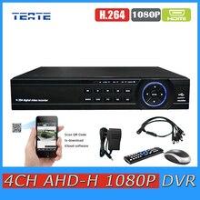 TEATE 4ch CCTV System AHD 1080P DVR surveillance NVR Four channel AHD-H 1080P HDMI Standalone WIFI video recorder TET-G04D10PB06