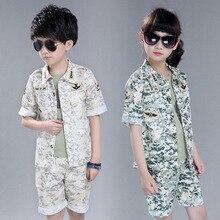 2016 новые летние дети комплект одежды мальчика и девочки рубашки и брюки и жилет мальчика одежда армия платье дети летний набор 16725