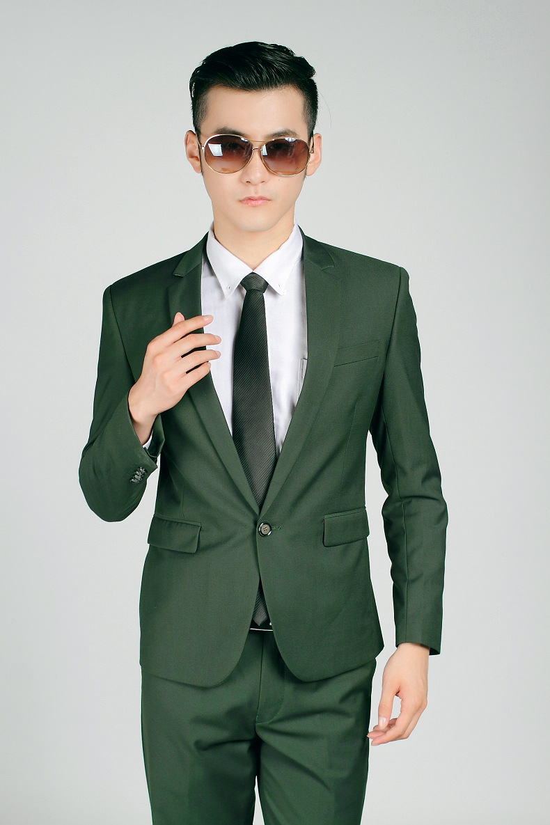 Mens Blazer Dark Green One Button Slim Fit Business Casual Suit Jackets Pants