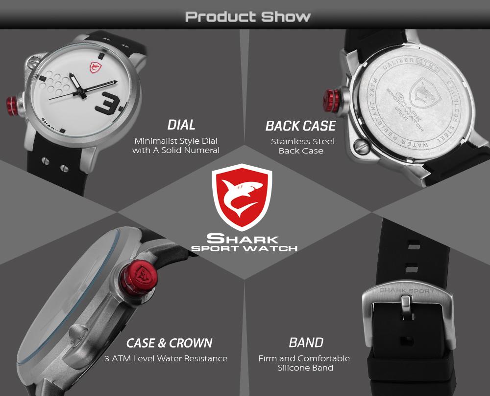 ปลาแซลมอนฉลามกีฬานาฬิกาดีไซน์เนอร์บิ๊กด้านซ้ายปุ่มกรณีควอตซ์นาฬิกาผู้ชายชายซิลิคอนวงReló... 6