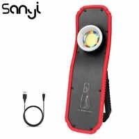 SANYI-Luz LED portátil de 3800LM COB con imán, 2 modos, recargable vía USB, batería integrada, linterna con gancho para colgar