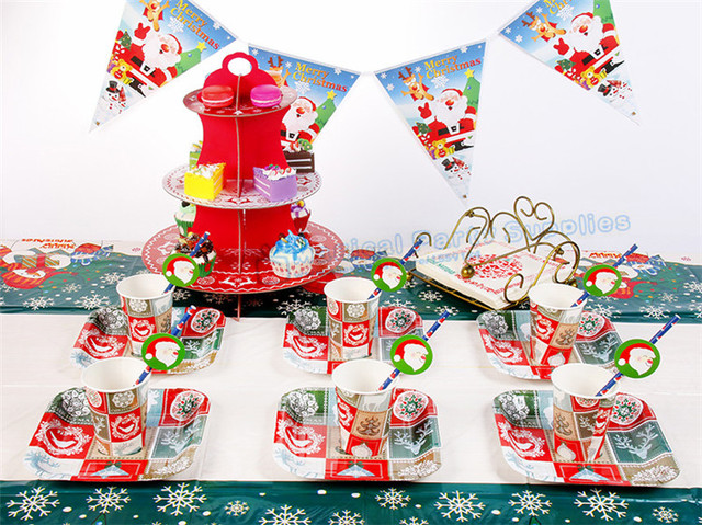 10 Sets Christmas Party Tableware Christmas Paper Plates Cups Napkins Straws Buntting Office Santa Christmas Party & 10 Sets Christmas Party Tableware Christmas Paper Plates Cups ...