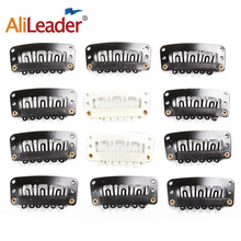 Alileader – Extensions de cheveux naturels, 20 pièces/lot, Clips pour perruque, frange, fermeture, peigne en métal