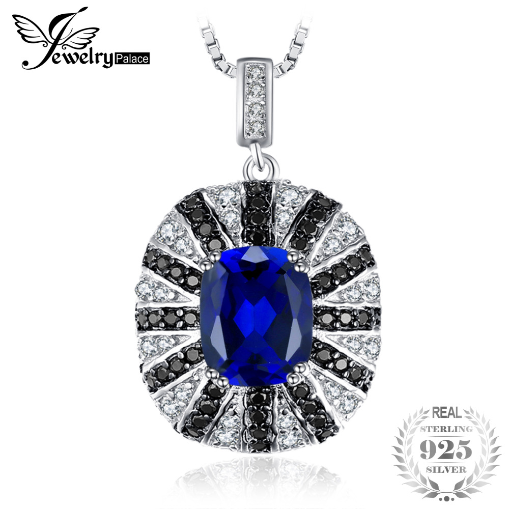JewelryPalace Luxury 6ct Blue Created Sapphire Black Spinel Solid 925 Sterling Silver Pendant Necklace 45cm Chain Necklace все цены