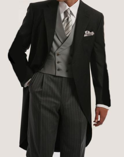 Morning Style Groomsmen Custom Made Groom Tuxedos One Button Men Suits Wedding Best Man Blazer ( Jacket+Pants+Vest )