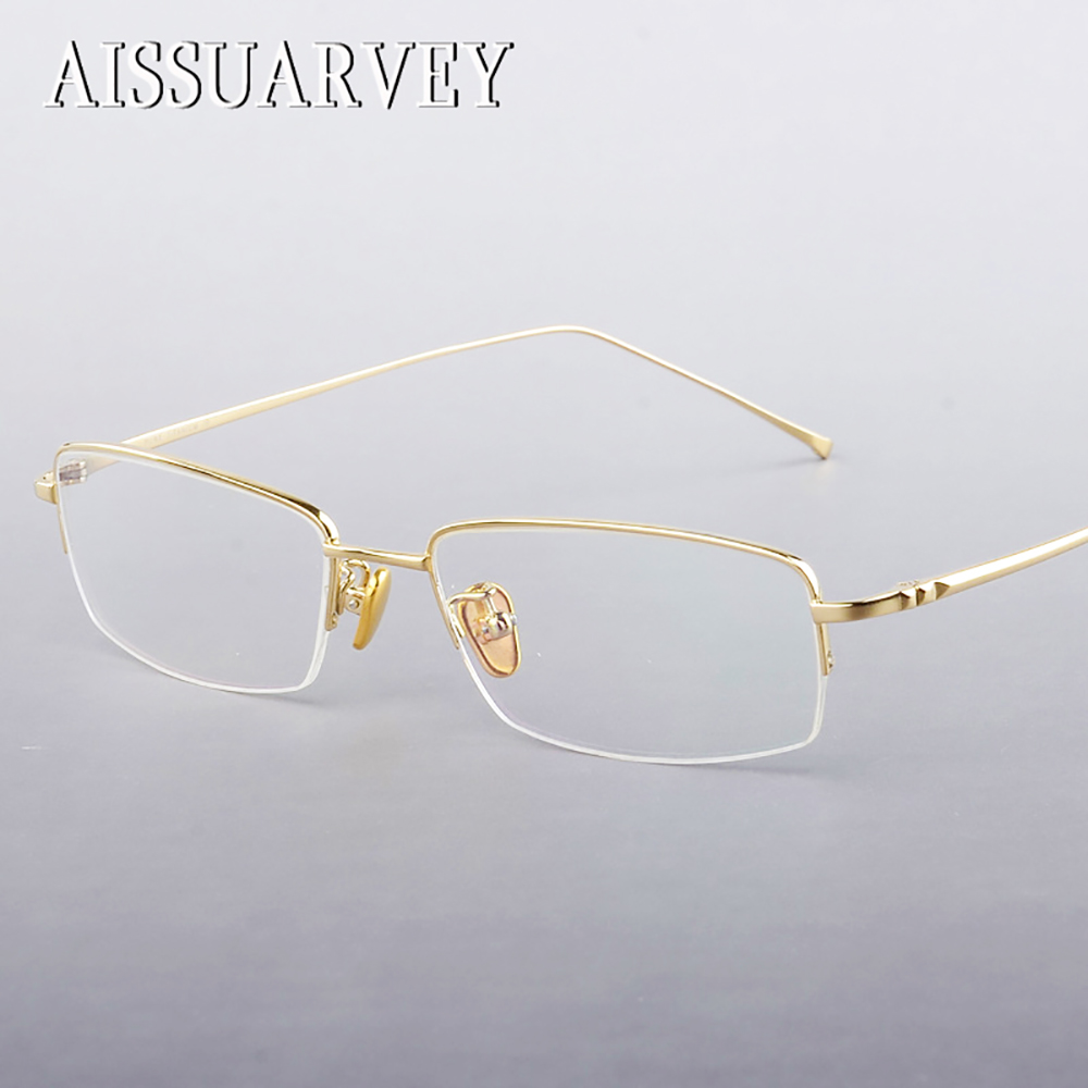 Armações de Óculos de titânio para Homens Eyewear Óptica Semi-aro Óculos de  Prescrição de 64727e3c38