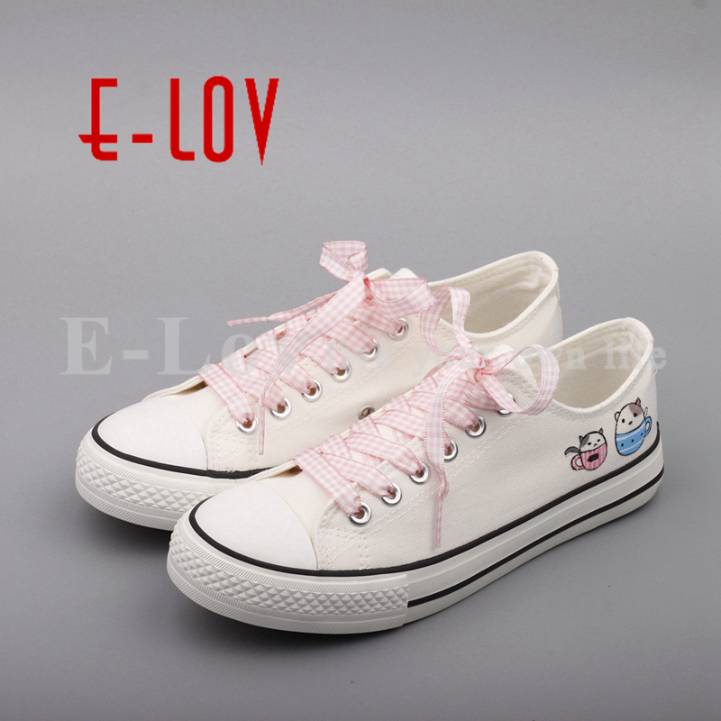 E-LOV Adults Unisex Shoes Custom Print Animals Canvas Shoes Lace-Up Women Fashion Casual Shoes Hand Painted DIY Cartoon Cat Shoe e lov hand painted casual canvas shoes diy custom graffiti animals flat shoe women oxford shoes sapatos feminino