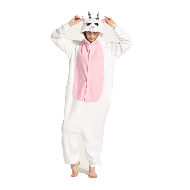 Adults Polar Fleece Goat Animal Kigurumi Women s and Men s Onesies Pajamas  Cosplay Costume for Halloween and Carnival Party e177f80d9