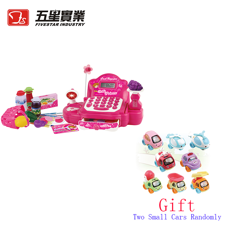 FS TOYS 1 SET 34533N Cash Register Toy kids plastic cash register toy pretend play early educational toy with shopping basket