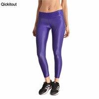 Qickitout leggings 2016 di modo delle donne lucida pantaloni leggings stella nascente viola vita alta new fitnesstrousers pantaloni all'ingrosso