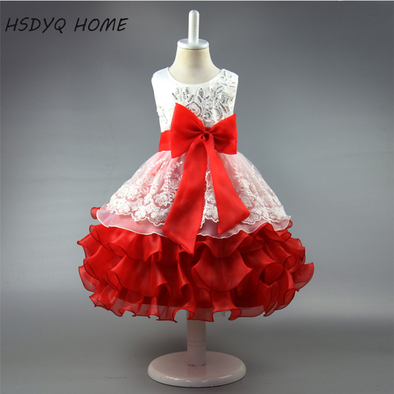 In stock 2017 cheap Flower Girl Dresses Ball Gown Kids Dress Bow Sequined Children gown real photo