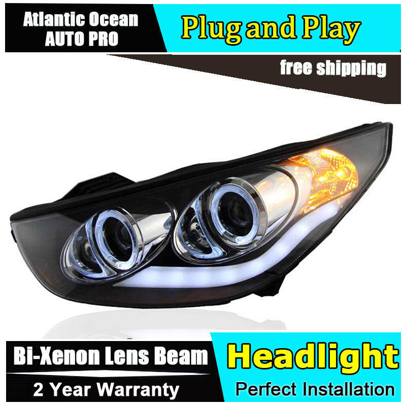 Auto.Pro Car Styling for Angel Eye LED Headlight Hyundai IX35 Headlights DRL Lens Double Beam HID KIT Xenon bi xenon lens hireno headlamp for peugeot 4008 5008 headlight headlight assembly led drl angel lens double beam hid xenon 2pcs