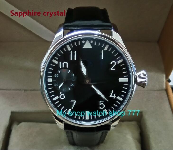 купить Sapphire crystal 44mm PARNIS black dial Asian ST3600/6497 Mechanical Hand Wind movement green Luminous men's watches sd340a по цене 5507.8 рублей