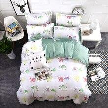 cartoon elephant print bedding sets kids bedlinen twin full queen king size white stripe duvet cover