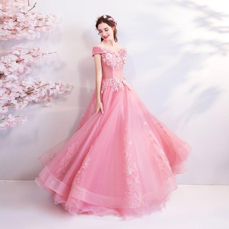 Marcher à côté de vous rose Appliques robes de bal robe de bal hors épaule longue chérie robes de soirée vestido de noiva abendkleider - 4