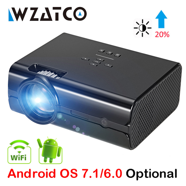 Best Price WZATCO CT68UP MINI Projector 2500lumens 1280*800 TV 1080P Video 3D LED Projector Android 7.1 Support 4K WIFI Beamer Proyector