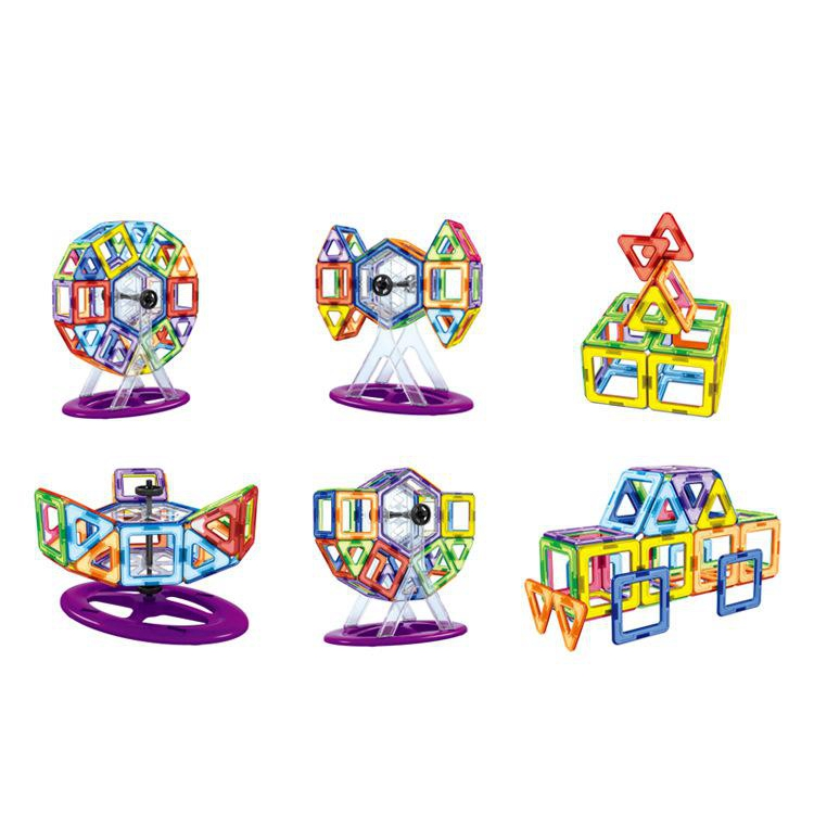 цены 92 Pcs/lot Diy Magnetic Building Blocks Magnetic Construction Blocks Ferris Wheel Toys 3d Magnetic Designer Educational Bricks