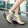 2015 Новый женская Обувь Мода Острым Носом Клин Пятки Ботинки Женщин Теплая Осень Зимние Сапоги Плюс Размер