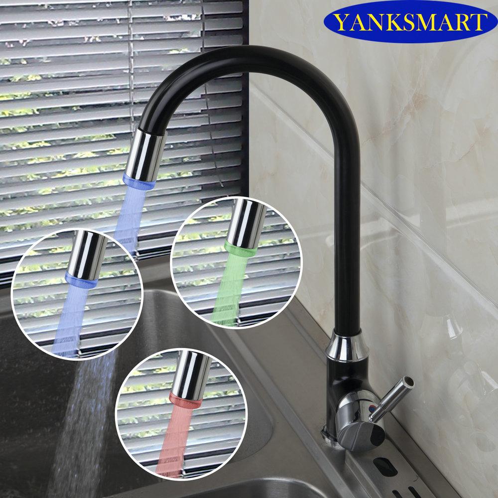 Luxury Black Painting Brass Finish LED Modern Finished Swivel Kitchen Faucet Deck Mounted Hot Cold Mixer