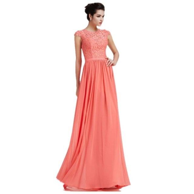 080e8d8d3f9b € 107.46  Elegante Coral Largo de Dama de honor Vestido de Fiesta Vestidos  de Encaje 2017 Con Manga Corta de Gasa Del Banquete de Boda Barato de ...