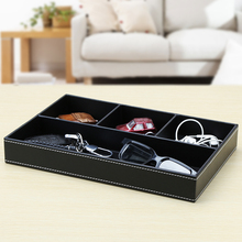 Multifunctional leather desktop stationery tray business office supplies charger storage box items finishing