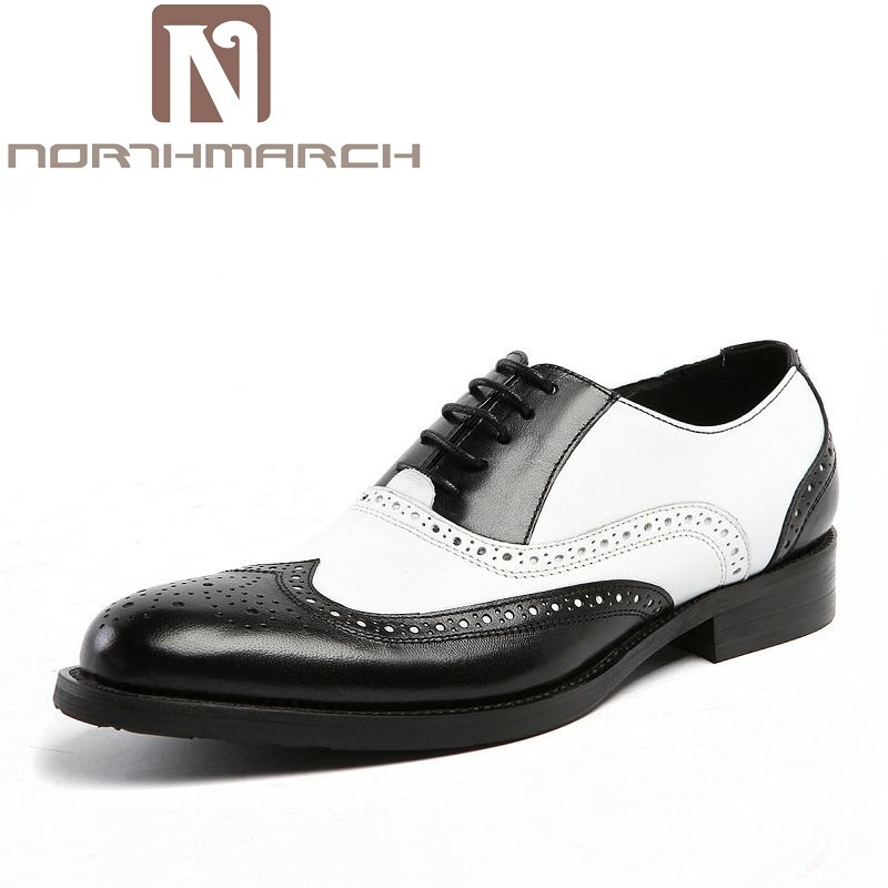 NORTHMARCH Brand Wedding Shoes Men Bullock Leisure Genuine Leather Men Oxfords Handmade Fashion British Style Men Dress Shoes snake pattern men genuine leather shoes fashion men oxfords shoes increased british style goodster handmade men leather shoes