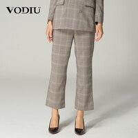 Vodiu Women Pants Female Autumn 2017 Suit Plaid Pants Vintage Casual High Waist Flat Button Fly