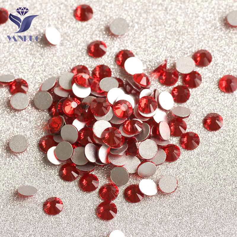 YANRUO 2058NoHF Light Siam Non Hot Fix Rhinestones Flat Back Crystals Nail Art Stones Flat Back Rhinestone Stones For Clothes