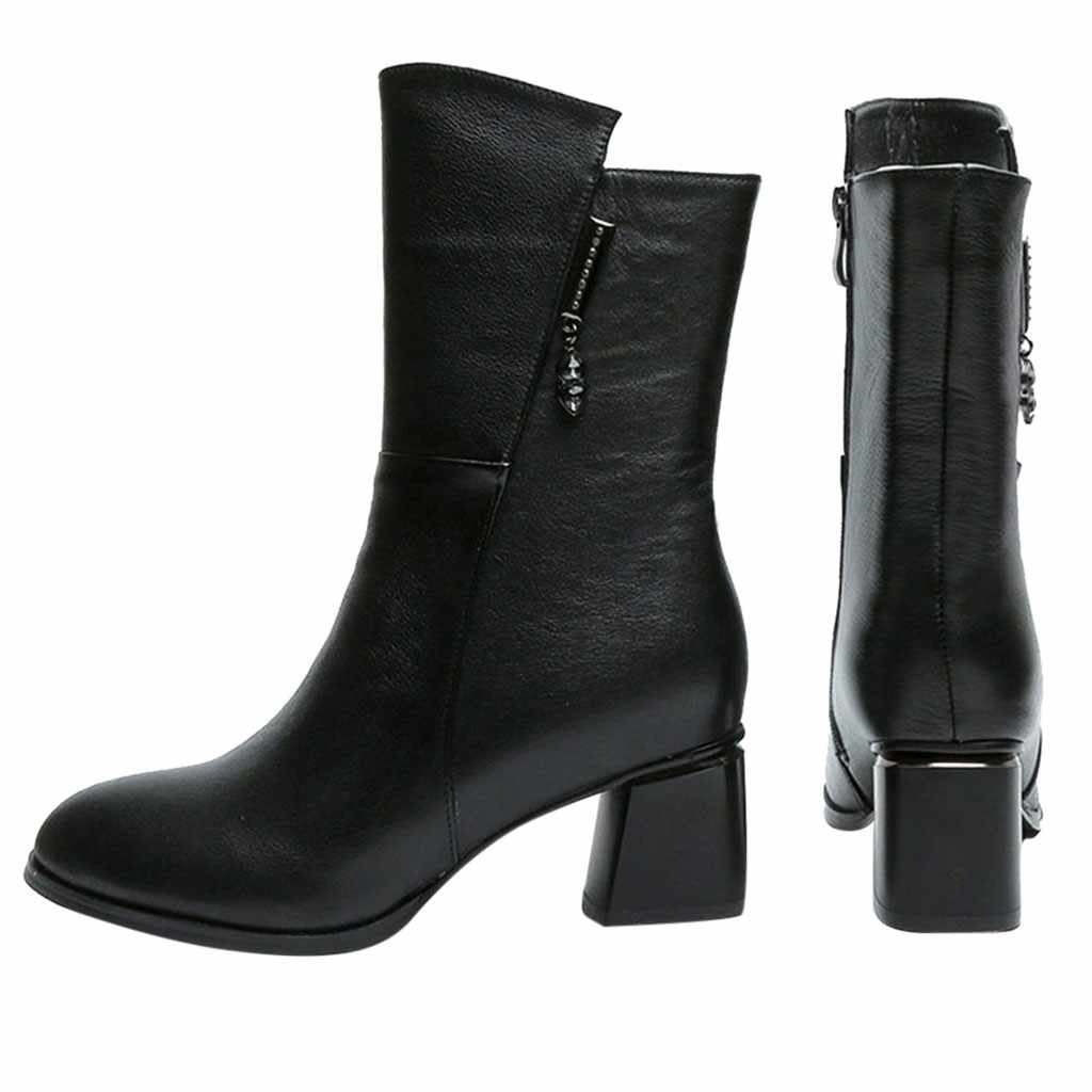 Jaycosin 2019 nuevo otoño mujeres diseño clásico cálido tacones calados invierno Retro cremallera peluche corto interior zapatos botas 11 de julio P35