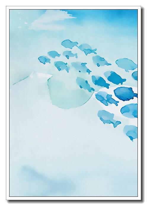 US $8.05 |Moderne Nordic Kawaii blau fische Kunstdruck Poster Wandbild  Kinderzimmer Leinwand Malerei Kein Rahmen Baby Raumdekoration-in Malerei  und ...