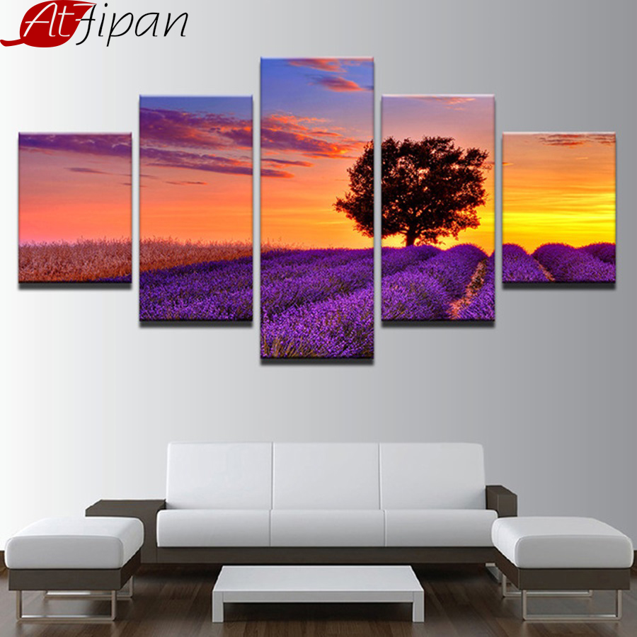 Canvas Prints Paintings Living Room Wall Art Framework 5 Pieces Purple Lavender Field Tree Sunset Landscape Pictures Home Decor