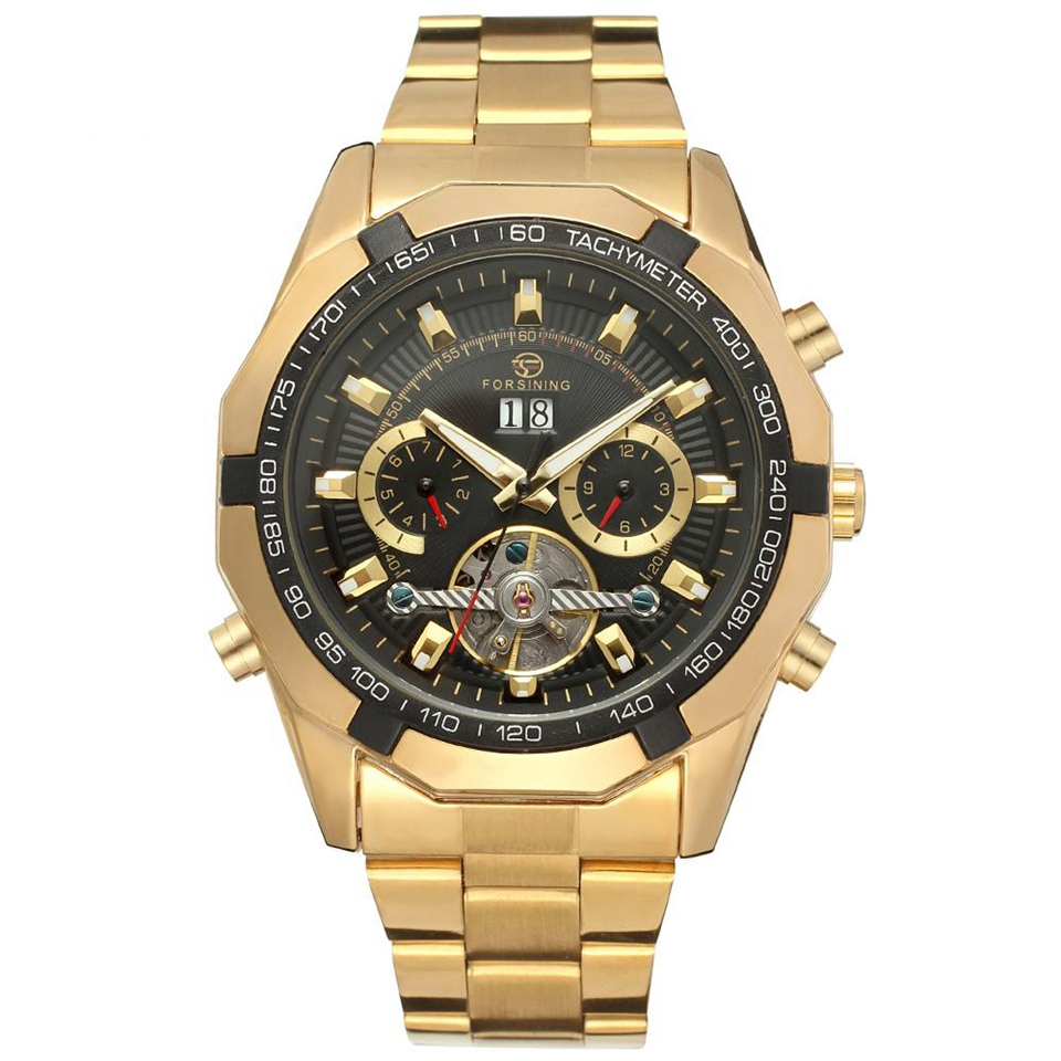 FORSINING Watch Golden Mens Automatic Mechanical Wrist Watch Black Dial Glass Day Date Month Relojes Male купить недорого в Москве
