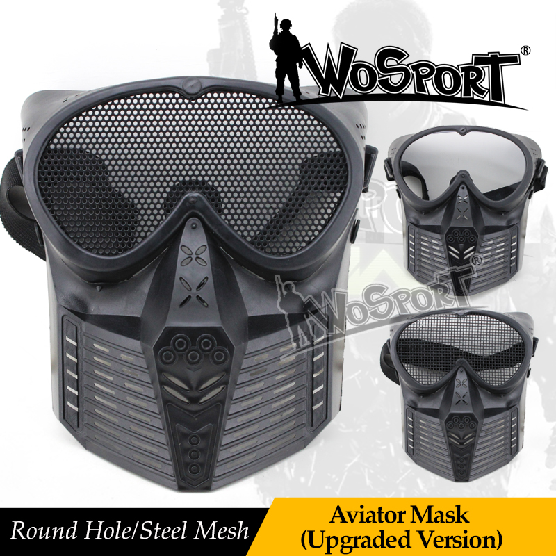WoSporT Tactical Outdoor Full Face Steel Net Mesh Military Protective Mask For Airsoft Paintball CS War Feild Game Cosplay